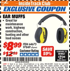 Harbor Freight ITC Coupon EAR MUFFS Lot No. 94334 Expired: 8/31/18 - $8.99