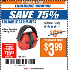 Harbor Freight ITC Coupon EAR MUFFS Lot No. 94334 Expired: 8/14/18 - $3.99