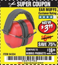 Harbor Freight Coupon EAR MUFFS Lot No. 94334 Expired: 10/18/18 - $3.99