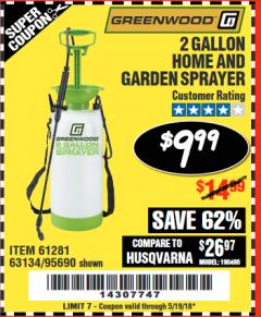 Harbor Freight Coupon 2 GALLON HOME AND GARDEN SPRAYER Lot No. 95690/61281/63134 Expired: 5/19/18 - $9.99