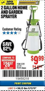 Harbor Freight Coupon 2 GALLON HOME AND GARDEN SPRAYER Lot No. 95690/61281/63134 Expired: 5/13/18 - $9.99
