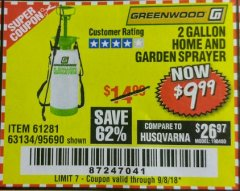 Harbor Freight Coupon 2 GALLON HOME AND GARDEN SPRAYER Lot No. 95690/61281/63134 Expired: 9/8/18 - $9.99