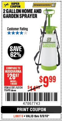 Harbor Freight Coupon 2 GALLON HOME AND GARDEN SPRAYER Lot No. 95690/61281/63134 Expired: 9/9/18 - $9.99