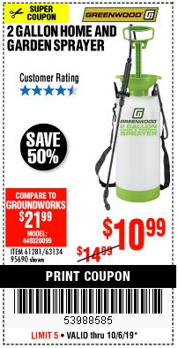 Harbor Freight Coupon 2 GALLON HOME AND GARDEN SPRAYER Lot No. 95690/61281/63134 Expired: 10/6/19 - $10.99