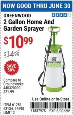 Harbor Freight Coupon 2 GALLON HOME AND GARDEN SPRAYER Lot No. 95690/61281/63134 Expired: 6/30/20 - $10.99