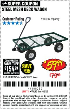 Harbor Freight Coupon STEEL MESH DECK WAGON Lot No. 60359/38137/62576 EXPIRES: 6/30/20 - $59.99