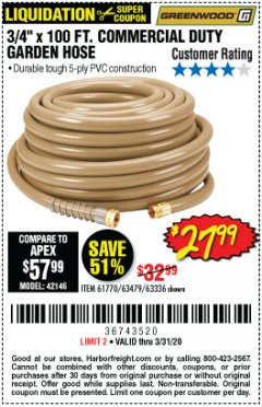 "Harbor Freight Coupon 3/4"" X 100 FT. COMMERCIAL DUTY GARDEN HOSE Lot No. 67020/61770/61906/63479/63336 Expired: 3/31/20 - $27.99"