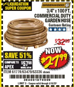 "Harbor Freight Coupon 3/4"" X 100 FT. COMMERCIAL DUTY GARDEN HOSE Lot No. 67020/61770/61906/63479/63336 Valid Thru: 5/16/20 - $27.99"