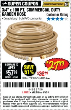 "Harbor Freight Coupon 3/4"" X 100 FT. COMMERCIAL DUTY GARDEN HOSE Lot No. 67020/61770/61906/63479/63336 Valid Thru: 4/5/20 - $27.99"