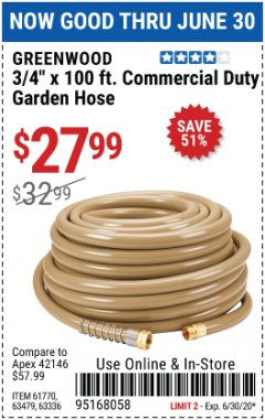 "Harbor Freight Coupon 3/4"" X 100 FT. COMMERCIAL DUTY GARDEN HOSE Lot No. 67020/61770/61906/63479/63336 EXPIRES: 6/30/20 - $27.99"