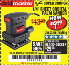 Harbor Freight Coupon ORBITAL HAND SANDER Lot No. 61311/61509/40070 Expired: 10/27/19 - $9.99