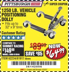 Harbor Freight Coupon VEHICLE POSITIONING WHEEL DOLLY Lot No. 67287/61917/62234 Expired: 1/23/20 - $64.99