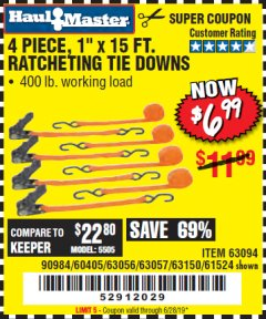"Harbor Freight Coupon 4 PIECE 1"" X 15 FT. RATCHETING TIE DOWNS Lot No. 90984/60405/61524/62322/63056/63057/63150 Expired: 6/28/19 - $6.99"