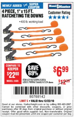 "Harbor Freight Coupon 4 PIECE 1"" X 15 FT. RATCHETING TIE DOWNS Lot No. 90984/60405/61524/62322/63056/63057/63150 Expired: 12/22/19 - $6.99"