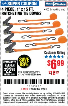 "Harbor Freight Coupon 4 PIECE 1"" X 15 FT. RATCHETING TIE DOWNS Lot No. 90984/60405/61524/62322/63056/63057/63150 Expired: 2/2/20 - $6.99"