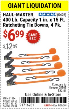 "Harbor Freight Coupon 4 PIECE 1"" X 15 FT. RATCHETING TIE DOWNS Lot No. 90984/60405/61524/62322/63056/63057/63150 Expired: 9/30/20 - $6.99"
