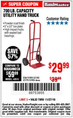 Harbor Freight Coupon 700 LB. CAPACITY UTILITY HAND TRUCK Lot No. 95909/42770/62180/62199/62406 Expired: 11/27/19 - $29.99