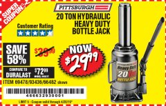 Harbor Freight Coupon 20 TON HYDRAULIC HEAVY DUTY BOTTLE JACK Lot No. 69478/66482 Expired: 4/20/19 - $29.99