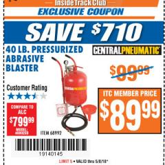 Harbor Freight ITC Coupon 40 LB. PRESSURIZED ABRASIVE BLASTER Lot No. 34202/68992 Expired: 5/8/18 - $89.99