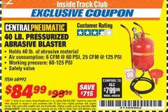 Harbor Freight ITC Coupon 40 LB. PRESSURIZED ABRASIVE BLASTER Lot No. 34202/68992 Expired: 6/30/18 - $84.99