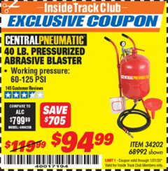 Harbor Freight ITC Coupon 40 LB. PRESSURIZED ABRASIVE BLASTER Lot No. 34202/68992 Expired: 1/31/20 - $94.99