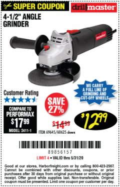 "Harbor Freight Coupon 4-1/2"" ANGLE GRINDER Lot No. 95578/69645/60625 Expired: 6/30/20 - $12.99"