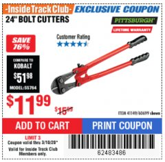 "Harbor Freight ITC Coupon 24"" BOLT CUTTERS Lot No. 60699/41149 Expired: 3/10/20 - $11.99"
