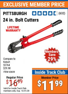 "Harbor Freight ITC Coupon 24"" BOLT CUTTERS Lot No. 60699/41149 Expired: 10/31/20 - $11.99"