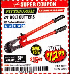 "Harbor Freight Coupon 24"" BOLT CUTTERS Lot No. 60699/41149 Expired: 3/31/20 - $12.99"