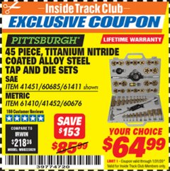 Harbor Freight ITC Coupon 45 PIECE TITANIUM NITRIDE COATED ALLOY STEEL TAP AND DIE SETS Lot No. 61411/60685/60676/61410 Expired: 1/31/20 - $64.99