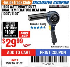 Harbor Freight ITC Coupon 1600 WATT HEAVY DUTY DUAL TEMPERATURE HEAT GUN (1000/1100) Lot No. 66098/69342 Expired: 10/1/19 - $29.99