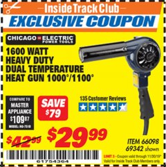 Harbor Freight ITC Coupon 1600 WATT HEAVY DUTY DUAL TEMPERATURE HEAT GUN (1000/1100) Lot No. 66098/69342 Expired: 11/30/19 - $29.99