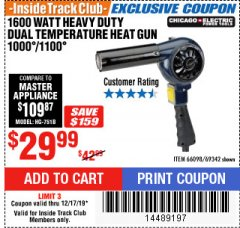 Harbor Freight ITC Coupon 1600 WATT HEAVY DUTY DUAL TEMPERATURE HEAT GUN (1000/1100) Lot No. 66098/69342 Expired: 12/17/19 - $29.99