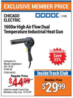 Harbor Freight ITC Coupon 1600 WATT HEAVY DUTY DUAL TEMPERATURE HEAT GUN (1000/1100) Lot No. 66098/69342 Expired: 12/3/20 - $29.99