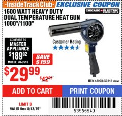 Harbor Freight ITC Coupon 1600 WATT HEAVY DUTY DUAL TEMPERATURE HEAT GUN (1000/1100) Lot No. 66098/69342 Expired: 8/13/19 - $29.99