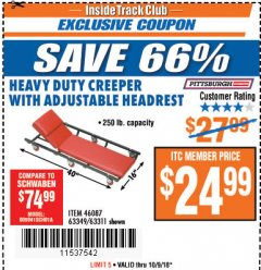 Harbor Freight ITC Coupon HEAVY DUTY CREEPER WITH ADJUSTABLE HEADREST Lot No. 63311/56383/46087 Expired: 10/9/18 - $24.99
