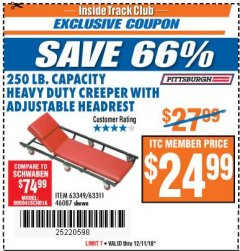 Harbor Freight ITC Coupon HEAVY DUTY CREEPER WITH ADJUSTABLE HEADREST Lot No. 63311/56383/46087 Expired: 12/11/18 - $24.99