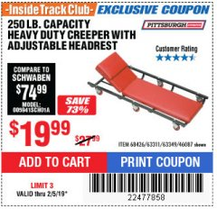 Harbor Freight ITC Coupon HEAVY DUTY CREEPER WITH ADJUSTABLE HEADREST Lot No. 63311/56383/46087 Expired: 2/5/19 - $19.99