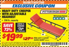 Harbor Freight ITC Coupon HEAVY DUTY CREEPER WITH ADJUSTABLE HEADREST Lot No. 63311/56383/46087 Expired: 3/31/19 - $19.99