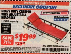 Harbor Freight ITC Coupon HEAVY DUTY CREEPER WITH ADJUSTABLE HEADREST Lot No. 63311/56383/46087 Expired: 7/31/19 - $19.99