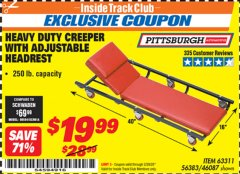 Harbor Freight ITC Coupon HEAVY DUTY CREEPER WITH ADJUSTABLE HEADREST Lot No. 63311/56383/46087 Expired: 2/29/20 - $19.99