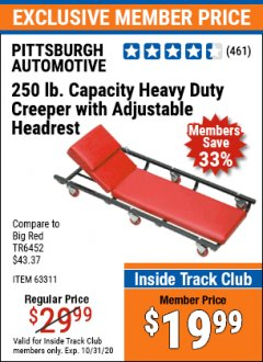 Harbor Freight ITC Coupon HEAVY DUTY CREEPER WITH ADJUSTABLE HEADREST Lot No. 63311/56383/46087 Valid Thru: 10/31/20 - $19.99