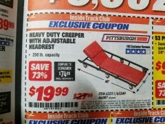 Harbor Freight ITC Coupon HEAVY DUTY CREEPER WITH ADJUSTABLE HEADREST Lot No. 63311/56383/46087 Expired: 1/31/19 - $19.99