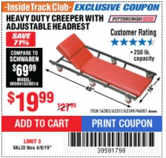 Harbor Freight ITC Coupon HEAVY DUTY CREEPER WITH ADJUSTABLE HEADREST Lot No. 63311/56383/46087 Expired: 4/9/19 - $19.99