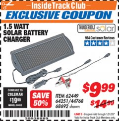 Harbor Freight ITC Coupon 1.5 WATT SOLAR BATTERY CHARGER Lot No. 62449/64251/44768/68692 Expired: 1/31/20 - $9.99