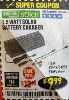 Harbor Freight Coupon 1.5 WATT SOLAR BATTERY CHARGER Lot No. 62449/64251/44768/68692 Expired: 12/31/18 - $9.99