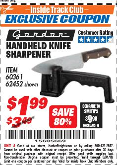 Harbor Freight ITC Coupon HANDHELD KNIFE SHARPENER Lot No. 60361/62452 Expired: 5/31/18 - $1.99