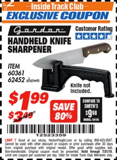 Harbor Freight ITC Coupon HANDHELD KNIFE SHARPENER Lot No. 60361/62452 Expired: 7/31/18 - $1.99