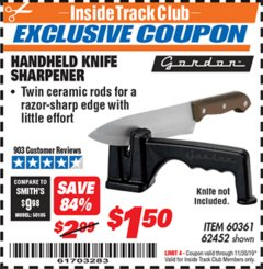 Harbor Freight ITC Coupon HANDHELD KNIFE SHARPENER Lot No. 60361/62452 Expired: 11/30/19 - $1.5