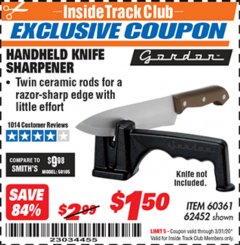 Harbor Freight ITC Coupon HANDHELD KNIFE SHARPENER Lot No. 60361/62452 Expired: 3/31/20 - $1.5